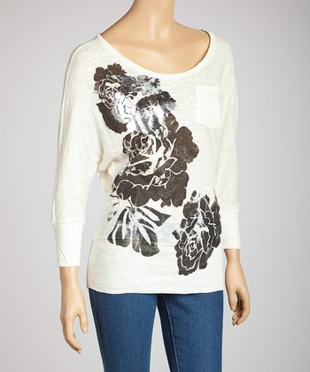 White Floral Dolman Top
