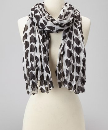 White & Black Heart Scarf