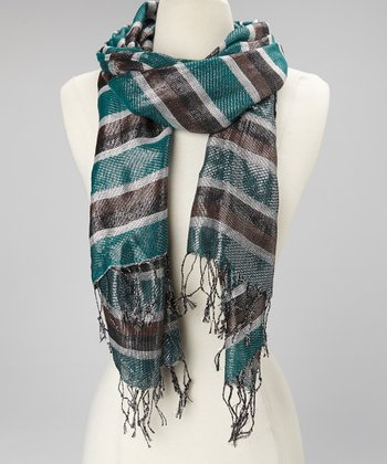 Teal & Black Shiny Scarf