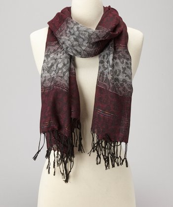 Burgundy Animal Scarf