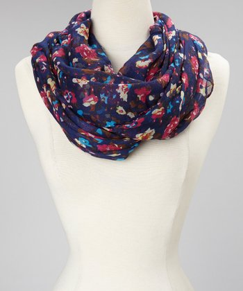 Blue & Red Floral Scarf