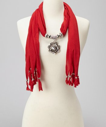 Red Pendant Scarf