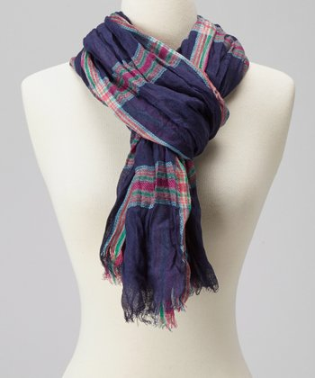 Navy Plaid Scarf