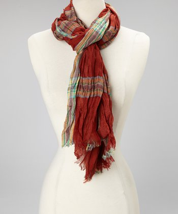 Rust Plaid Scarf