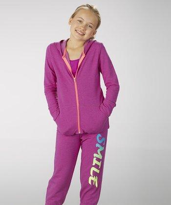Neon Purple 'Smile' Zip-Up Hoodie - Girls