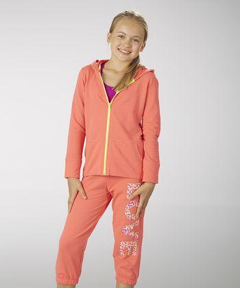 Diva Pink 'Love' Zip-Up Hoodie - Girls