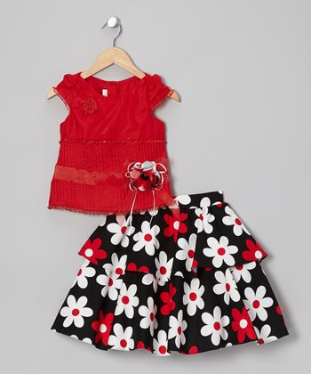 Red Cap-Sleeve Top & Flower Skirt - Girls