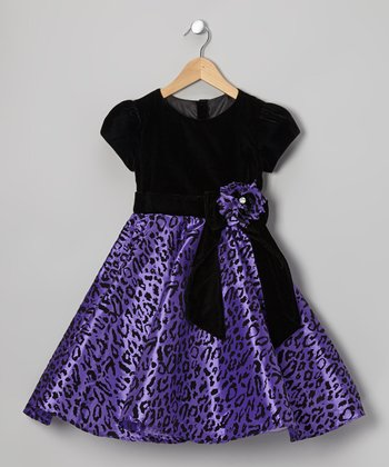 Purple & Black Leopard Dress - Toddler & Girls