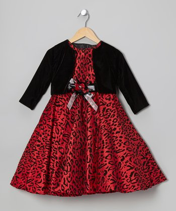 Red Leopard Dress & Black Bolero - Toddler & Girls