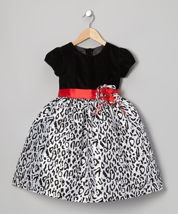 Black & White Leopard Dress - Toddler & Girls