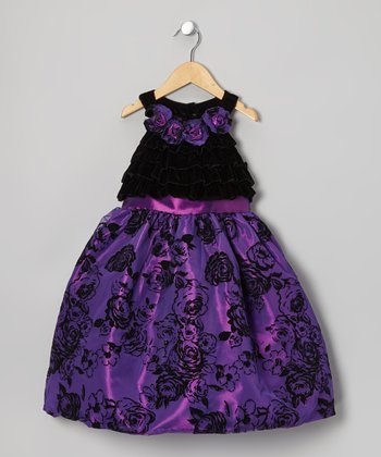 Purple Flower Yoke Dress - Toddler & Girls