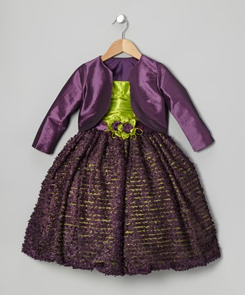 Purple & Green Flower Dress & Bolero - Toddler & Girls