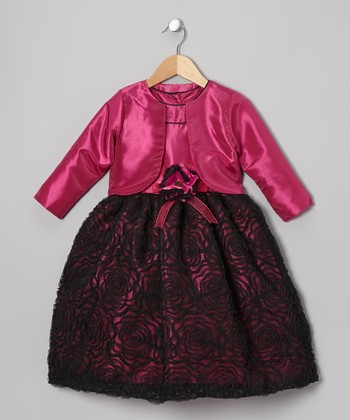 Fuchsia Flower Yoke Dress & Bolero - Toddler & Girls