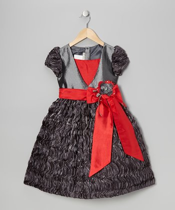 Gray Bow Dress - Toddler & Girls