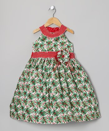 Green & Red Holly Yoke Dress - Toddler & Girls