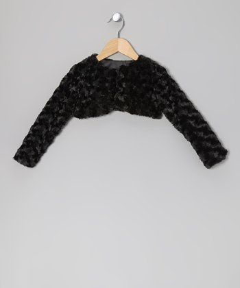 Black Faux Fur Jacket - Toddler & Girls