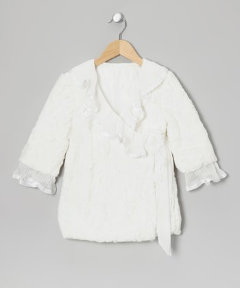 Off-White Faux Fur Wrap Jacket - Toddler & Girls