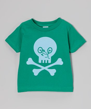 Green Bike Skull Tee - Toddler & Boys