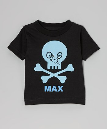 Black Bike Skull Personalized Tee - Toddler & Boys