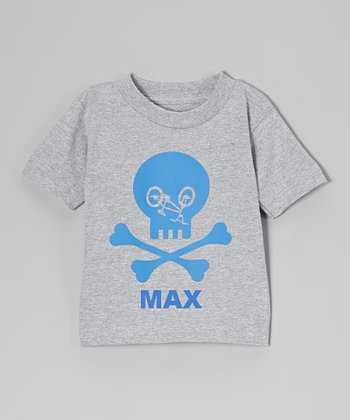 Gray Bike Skull Personalized Tee - Toddler & Boys