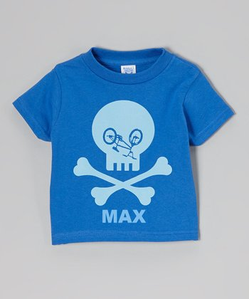 Blue Bike Skull Personalized Tee - Toddler & Boys