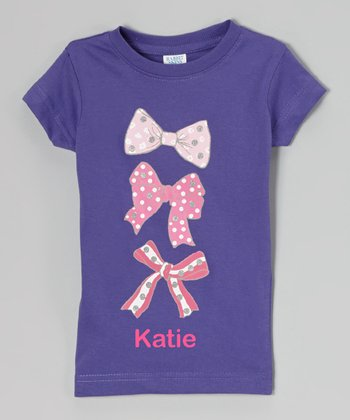Purple Triple Bow Personalized Tee - Toddler & Girls