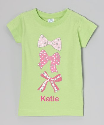 Green Triple Bow Personalized Tee - Toddler & Girls