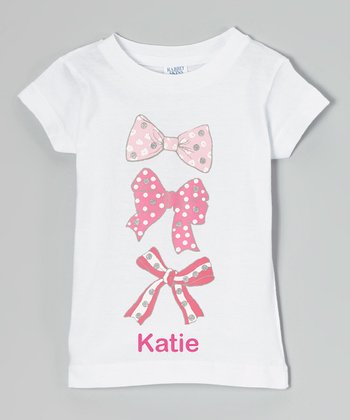 White Triple Bow Personalized Tee - Toddler & Girls