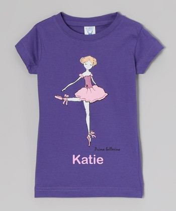 Purple 'Prima Ballerina' Personalized Tee - Toddler & Girls