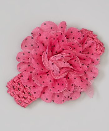 Hot Pink & Black Polka Dot Flower Crochet Headband