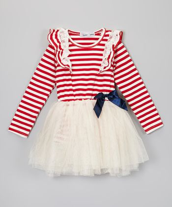 Red & White Stripe Tutu Dress - Toddler & Girls