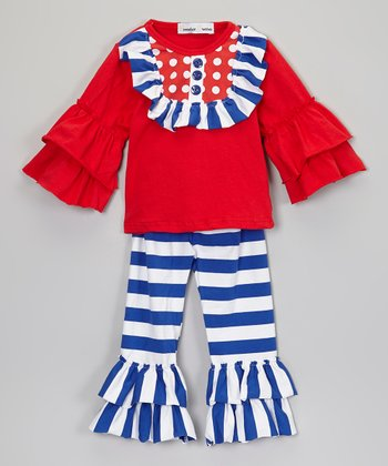 Red Tunic & Blue & White Stripe Leggings - Infant, Toddler & Girl