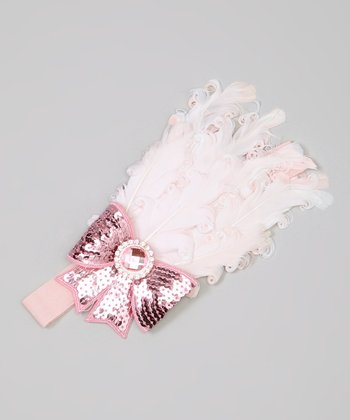 Pink Sequin Bow Feather Headband