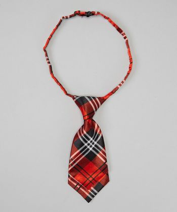 Red & Black Plaid Adjustable Silk Tie