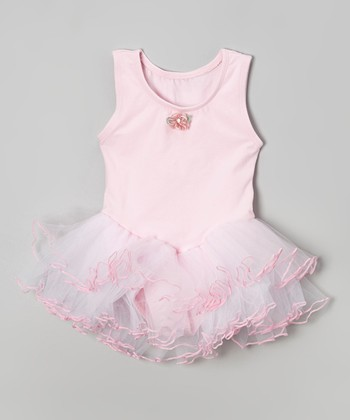 Pink & White Flower Tutu Skirted Leotard - Girls