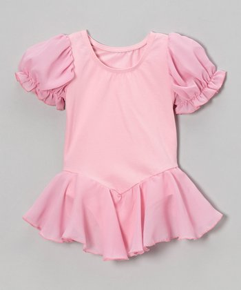 Pink Puff-Sleeve Skirted Leotard - Girls