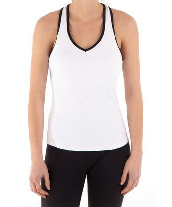 White & Black Cutout Racerback Tank