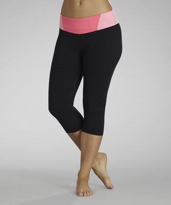 Black & Pink Sugar Ray Capri Leggings