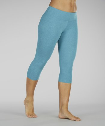 Heather Caribbean Blue Capri Leggings