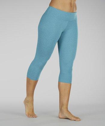 Heather Caribbean Blue Capri Leggings