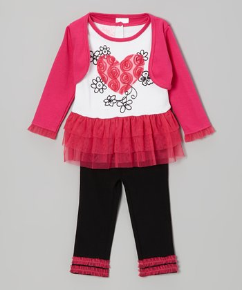 Pink Ruffle Heart Tunic Set