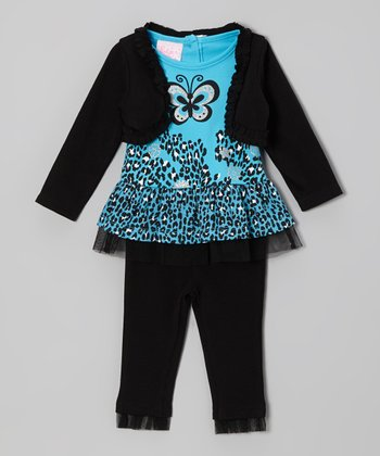 Blue Ruffle Cheetah Tunic Set