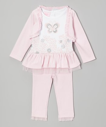 Light Pink Butterfly Cheetah Tunic Set - Infant