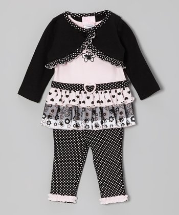 Pink & Black Polka Heart Butterfly Tunic Set - Infant