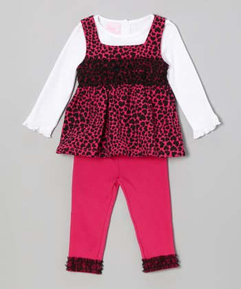Pink Hearts Layered Tunic Set - Infant