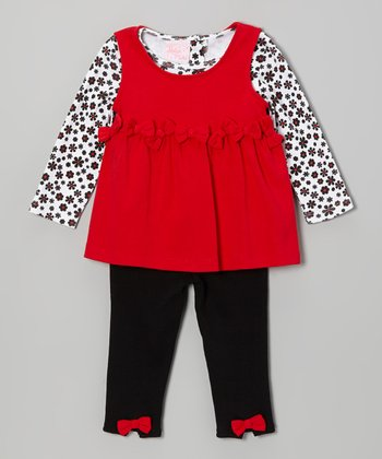 Red & Black Floral Layered Tunic Set - Infant