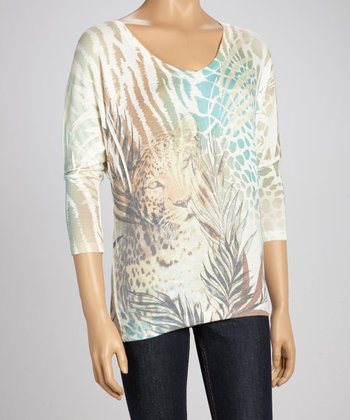 Ivory Cheetah Dolman Top