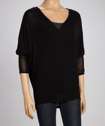 Black V-Neck Dolman Sweater