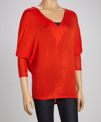 Tomato V-Neck Dolman Sweater