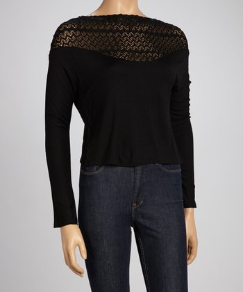 Black Crocheted Sweater